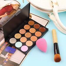 15Colors Contour Face Cream Makeup Concealer Palette+Sponge Puff+Powder Brush BY