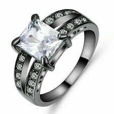 White Sapphire Wedding Band Ring Black Rhodium Plated Party Jewelry Size 9
