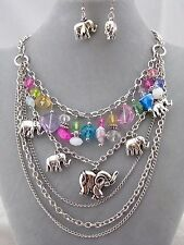 Silver Chain Elephant Charm Glass Bead Necklace Set Fashion Jewelry New