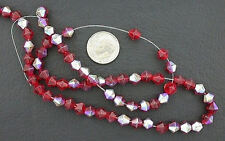 6mm Red Ruby BiCone AB Glass Bead Strand
