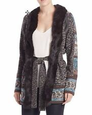 NWT HAUTE HIPPIE SzM FUR COLLAR WOOL CARDIGAN COAT W/STRIPE LEATHER MULTI  $895.