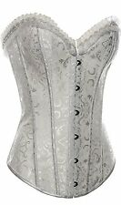 Womens Fashion Flower Tapestry Steel Boned Hook & Eye Corset & G-String White XL