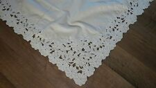"""Vintage X-Large Floral Embroidery Cutwork Beige Cotton Tablecloth 68"""" x 108"""""""