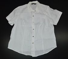 Marina Rinaldi Max Mara Women`s Cream Linen Shirt Short Sleeve Size 25 Button