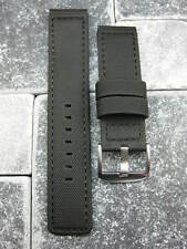 22mm Black PVC Composite Rubber Diver Strap Black Stitch Watch Band Maratac 22