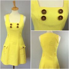 River Island Ladies Yellow Waffle Texture Cotton 70s Retro A-line Dress UK 10