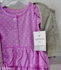 Carter's Baby Girl 18 months Lavender Dress and Gray Sweater Set 2 piece Outfit