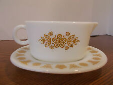 Pyrex Butterfly Gold Pattern Gravy Bowl Oval Underplate 77-U and 77-B PYREX