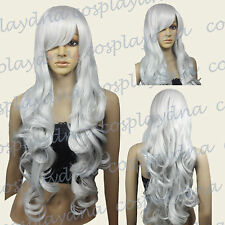 Silvery White Curly Wavy Long Cosplay Wig - 33 inch High Temp - CosplayDNA Wigs