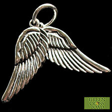 .925 PLATA ESTERLINA SÓLIDA Guardian Angel Alas Colgante Serafines Saint P004