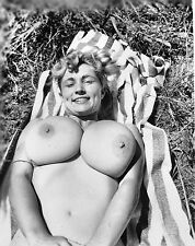 1960s Nude Virginia Bell on beach towel showing mighty breast 8 x 10 Photograph