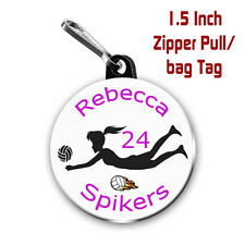 Two Personalized 1.5 Inch Volleyball Zipper Pull/Bag Tags with Name Number Team
