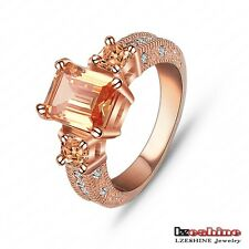Engagement Rectangle cubic Zircon 18K Rose Gold/Platinum Plated Women rings