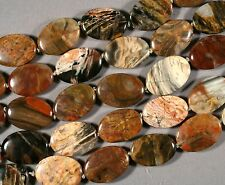 """DIVERSE PETRIFIED WOOD AGATE 25X18MM OVAL BEADS 16""""  STR"""