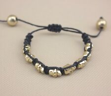 Small Black & Gold Adjustable Multi Skull Rope Woven Bracelet/Bangle/Wristband