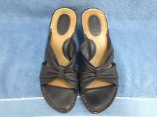 Womens size 10 BORN Brown Leather Sandals Wedge EXCELLENT USED CONDITION