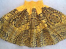 "NEW  YELLOW  BLACK HAWAIIAN HULA PAU PA'U TAPA TRIBAL PRINT SKIRT 28"" LONG"
