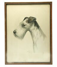 "Drawing (?) 12x16in  ""Portrait Of My Dog"". Framed. Signed By R.F Gauli (?). OLD."
