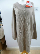 BNWT Pure Collection brown cashmere/wool diagonal cable tunic/jumper/dress  XL
