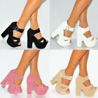 STRAPPY SANDALS PLATFORMS ANKLE CUFF WEDGED PLATFORMS WEDGES HIGH HEELS SHOES