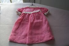 Vtg 40's Cotton Pink Dotted Swiss Doll Dress with Metal Hanger