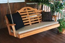 Outdoor 5 Foot Marlboro Porch Swing Gray Stain Amish Made in the Usa