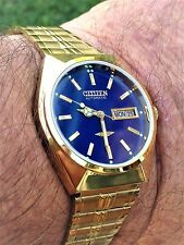 Men's RARE VINTAGE CITIZEN 21 JEWELS 8200A AUTOMATIC DAY/DATE ROYAL BLUE Watch
