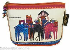 Laurel Burch Eta & Friends Woman Cat Bird Mini Organizer Bag Makeup Jewelry Meds