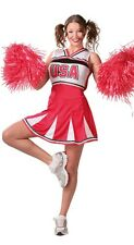 Ladies Sexy American Cheerleader World Fancy Dress Costume Outfit 14-16-18