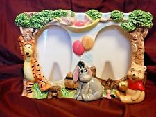 Disney Ceramic Double Picture Frame Winnie Eeyore Tigger Piglet *Very Good Cond*