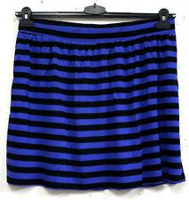 NEU bequemer Damen Mini Streifen Shirt Rock in lila schwarz A - Line Gr. 46