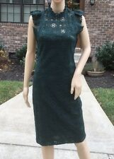 Rare M_NWT ZARA DARK GREEN LACE GUIPURE LONG SHIFT TUBE MIDI DRESS REF. 4437/262