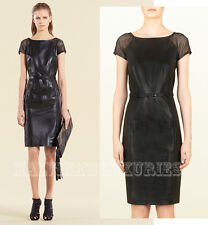 $3,750 GUCCI DRESS BLACK LEATHER BELTED WITH BAMBOO BUCKLE sz IT 44 US 8