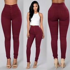 Womens High Waisted Skinny Fit Jeans Stretch Ripped Denim Jegging Trousers Pants