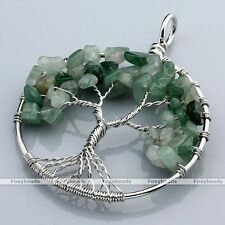 Aventurine Tree Of Life Life-tree Gems Chip Beads Wire Wrap Pendant fit Necklace