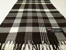 100% Cashmere Scarf Soft 72X12 Black White Scotland Wool Check Plaid K59 Women