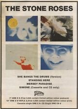 15/7/89Pgn11 Advert: The Stone Roses New Single 'she Bangs The Drums' 15x11