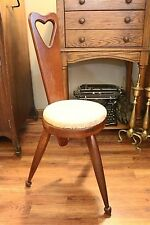 Vintage Wooden 3-Legged Stool/Chair with Backrest & Padded Seat