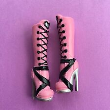Monster High Doll *MH Replacement Pink Boots Lace Up Wrap Silver Heeled Shoes