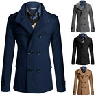 Men's Slim Stylish Trench Coat Winter Long Jacket Double Breasted Overcoat S~XL