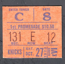 New York Knicks vs 76ers October 27 1973 Ticket Stub Knicks win