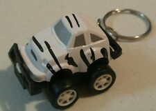 Mini Pull Back Racer Jeep Safari Car Keychain in White with Black Miniature Toy