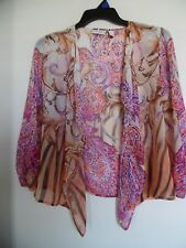 CHICO'S Sheer Muti Color Cardigan 1 Open Long Sleeve Top M
