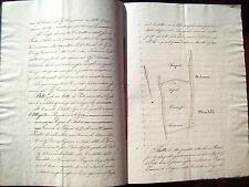 1863 MANOSCRITTO CON MAPPA CATASTALE DA BAZZANO NEL BOLOGNESE