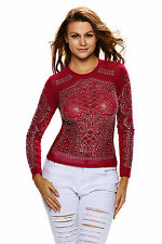 Sparkle Stone Long Sleeve Stretchy Mesh Top Size 10