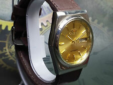 VINTAGE ORIENT AUTOMATIC DAY-DATE JAPAN MADE MEN'S ANALOG DIAL WRIST WATCH