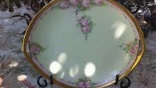 LARGE ANTIQUE CA 1915 ROSENTHAL DONATELLO CAKE PLATE HAND PAINTED ROSES SIGNED