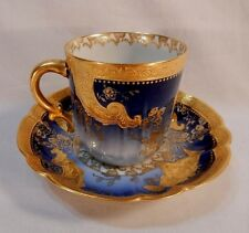 Gold & Silver Trimed Haviland Limoges Ovington Brothers  Demitasse Cup & Saucer