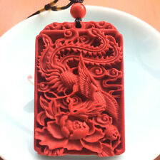 Fashion Chinese Natural Red Organic Cinnabar Phoenix Pendant Lucky Amulet Hot