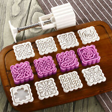 75g Round Baking Mooncake DIY Mold Pastry Biscuit Cake Mould Fower w/8 Stamps